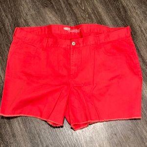 Old Navy Red Fringe Hem Sweetheart Jean Shorts 20